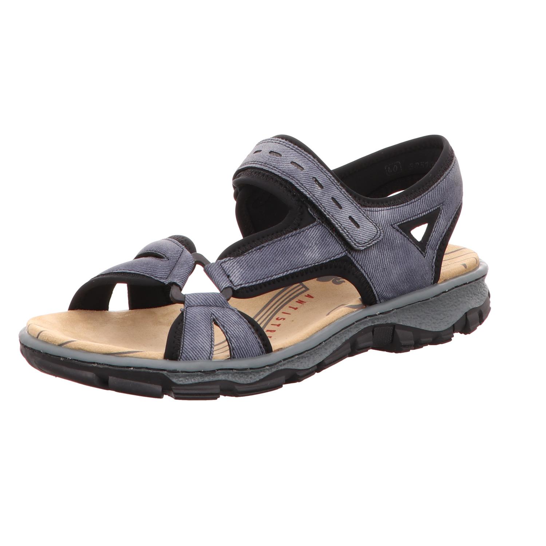 Rieker Damen Sandalette Jeans Blau