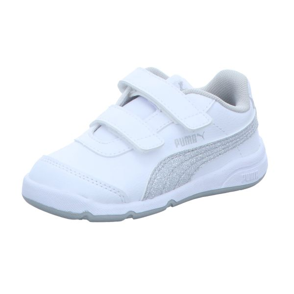 Puma Mädchen-Sneaker-Klettschuh Stepfleex 2 SL VE Glitz FS V I Weiß-Silber