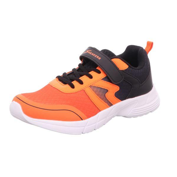 Sneakers Damen-Klett-Sportschuh Orange-Schwarz