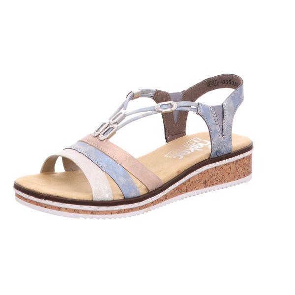 Rieker Damen-Sandalette Blau-Multi