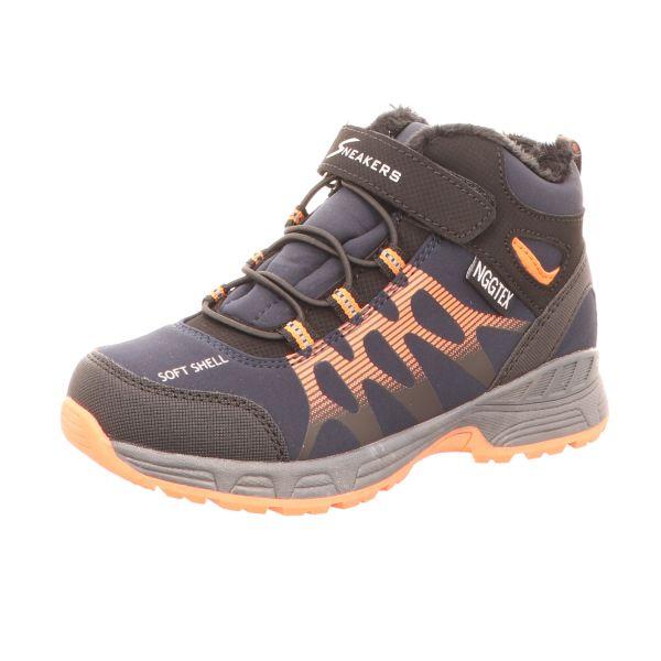 Sneakers Jungen-Tex-Allwetterstiefel gefüttert Blau-Orange