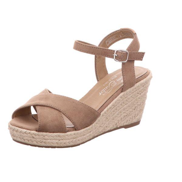 Tom Tailor Damen-Sandalette mit Keilabsatz Beige