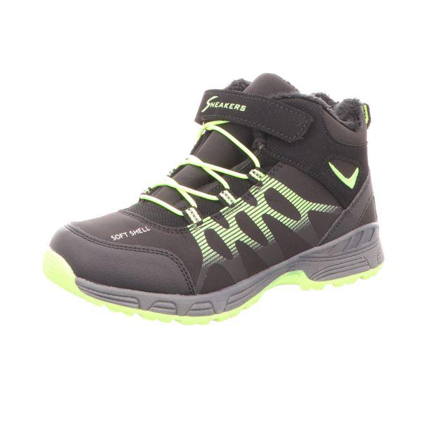 Sneakers Jungen-Allwetterstiefel gefüttert Schwarz-Grün-Gelb