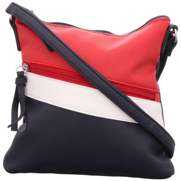 Jewels of Style Damen-Reißverschlusshandtasche Blau-Weiß-Rot