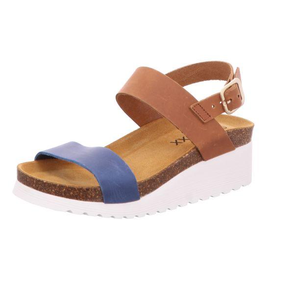 BOXX Damen-Sandalette mit Tieffußbett Blau-Braun