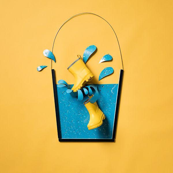 Sneakers Kinder-Gummistiefel ungefüttert Gelb