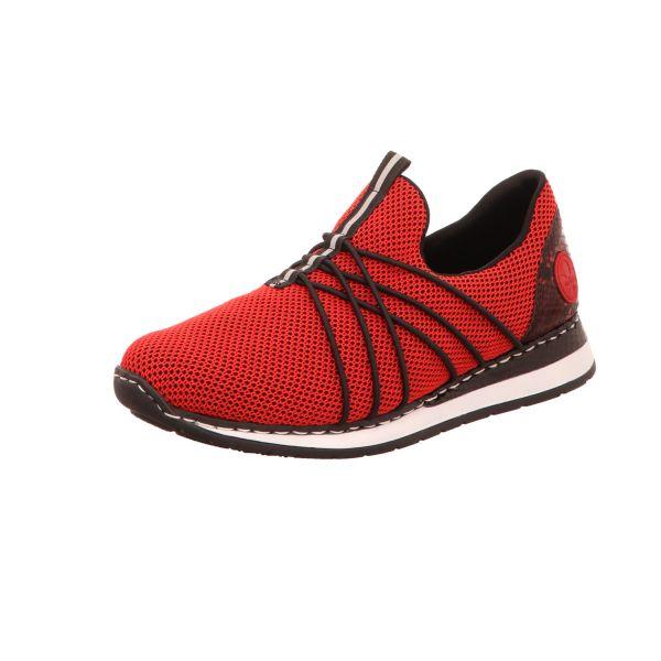 Rieker Damen-Sneaker-Slipper Rot-Schwarz