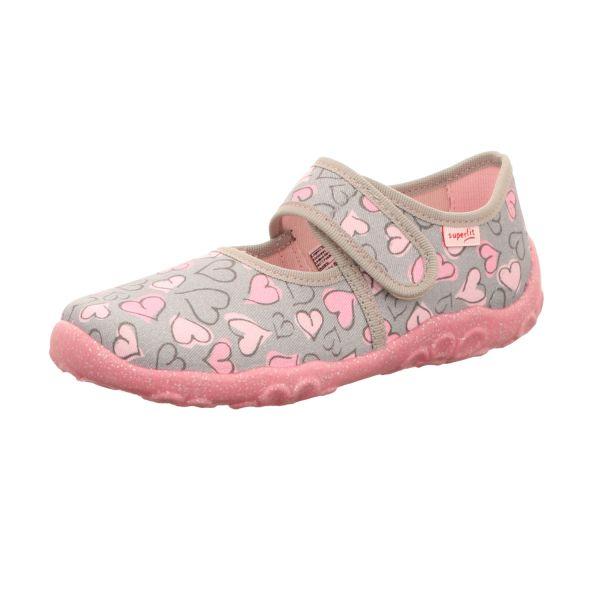 Superfit Kinder-Hausschuh Herz BONNY Grau-Pink
