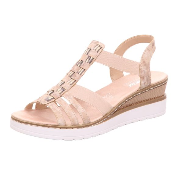 Rieker Damen-Sandalette mit Keilabsatz Rosa
