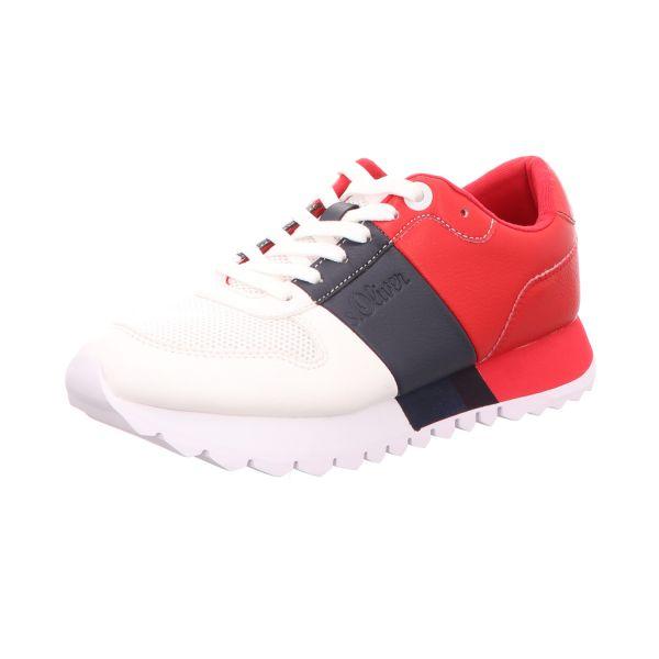s.Oliver Damen-Sneaker Weiß-Schwarz-Rot