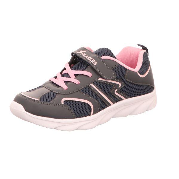 Sneakers Damen-Klett-Sportschuh Blau-Schwarz-Pink