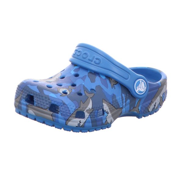 Crocs Jungen-Badeschuh Classic Shark Clog PS Blau mit Haien
