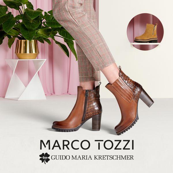 MARCO TOZZI by GMK Damen-Stiefelette-Chelsea-Boot Braun