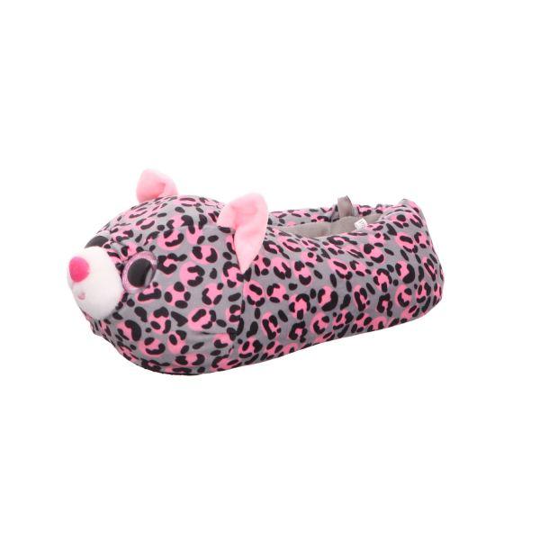 Home Comfort Mädchen-Hausschuh Leopard Grau-Pink