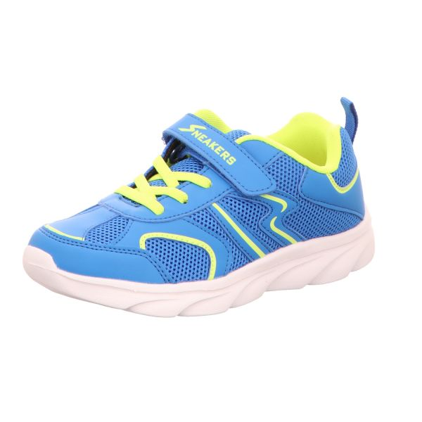 Sneakers Kinder-Klett-Sportschuh Blau-Neon-Gelb