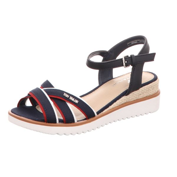 Tom Tailor Damen-Sandalette mit Keilabsatz Blau