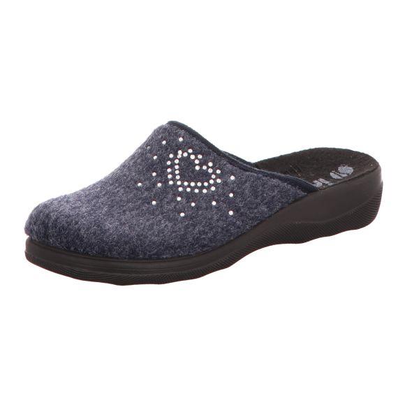 inblu Damen-Pantoffel Herz-Motiv Dunkel-Blau