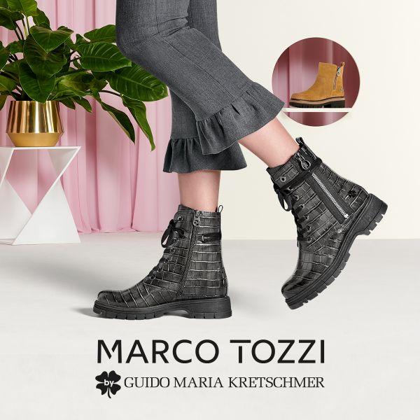 MARCO TOZZI by GMK Damen-Schnürstiefelette Dunkel-Grau