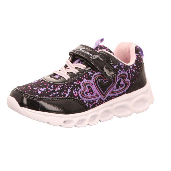 Sneakers Mädchen-Sneaker-Klettschuh mit Leuchteffekt Schwarz-Lila