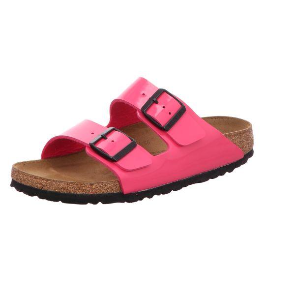 Birkenstock Damen-Pantolette mit Tieffußbett Birko-Flor Lack Arizona BS Pink