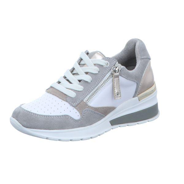 BOXX Damen-Schnürhalbschuh mit Keil Weiß-Grau