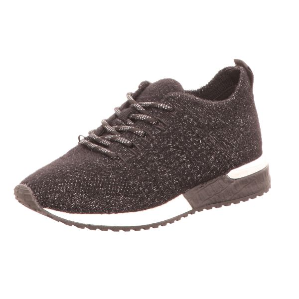 La Strada Damen-Sneaker Laced Up Knitted Schwarz-Silber
