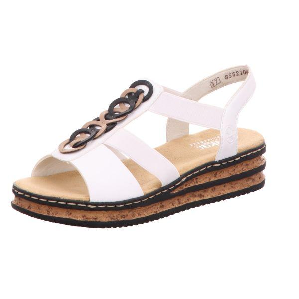 Rieker Damen-Sandalette mit Keilabsatz Weiß