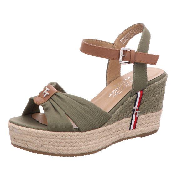 Tom Tailor Damen-Sandalette mit Keilabsatz Khaki-Grün