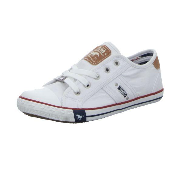 Mustang Damen-Leinen-Sneaker Weiß