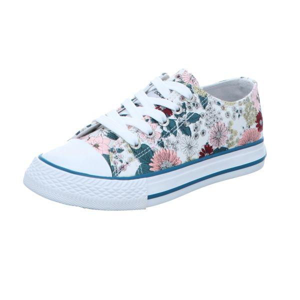 Dockers Kinder-Leinen-Sneaker Weiß-Multi