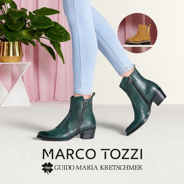 MARCO TOZZI by GMK Damen-Lederstiefelette Grün
