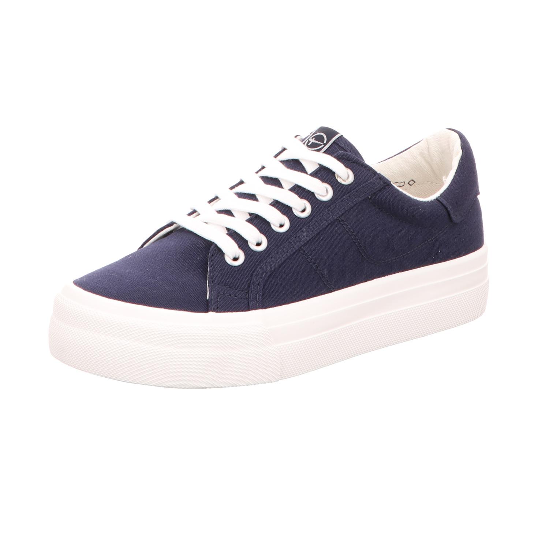 Tamaris Damen-Leinen-Sneaker Blau