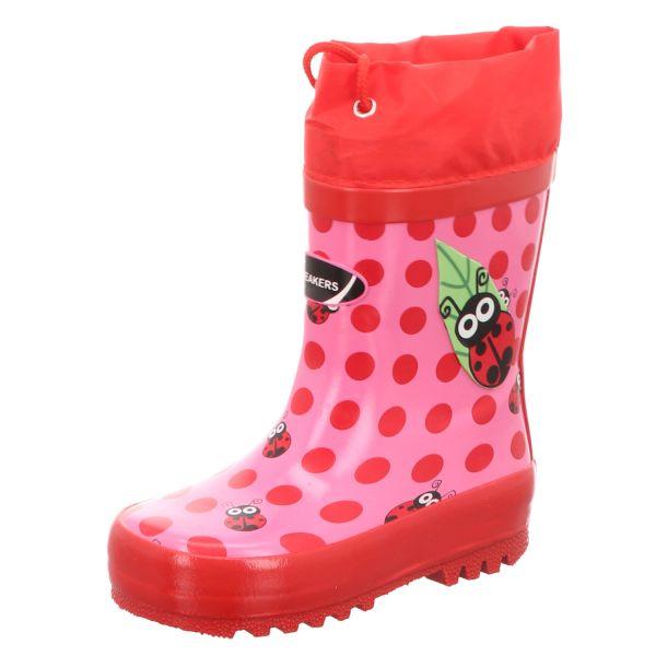 Sneakers Kinder-Gummistiefel Marienkäfer Pink-Rot